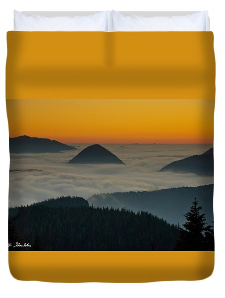Peaks Above The Fog At Sunset Duvet Cover