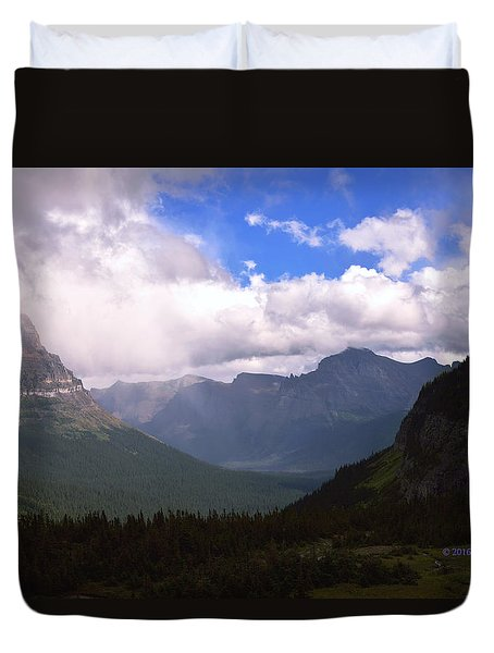 Peaks And Valleys Glacier National Park Duvet Cover