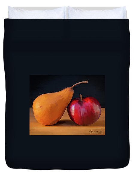 Pear And Plum 01 Duvet Cover by Wally Hampton