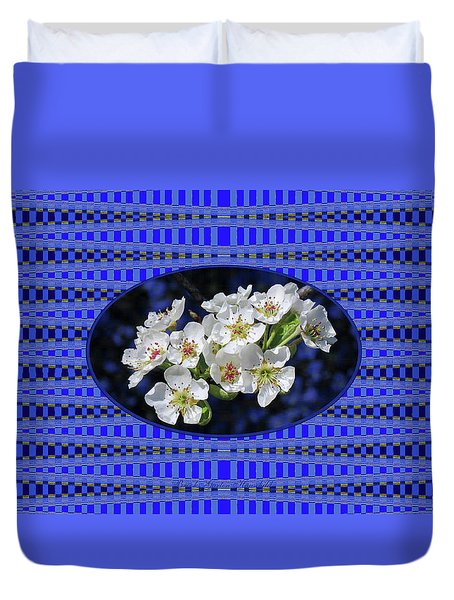 Duvet Cover featuring the photograph Pear Blossoms And Georgia Blue Floral Abstract by Brooks Garten Hauschild