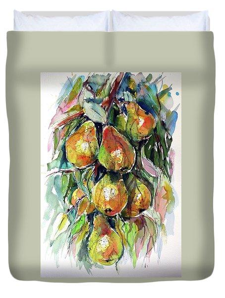 Duvet Cover featuring the painting Pear by Kovacs Anna Brigitta