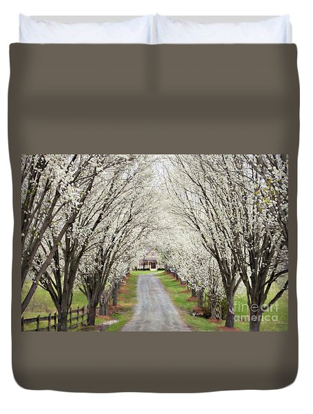 Duvet Cover featuring the photograph Pear Tree Lane by Benanne Stiens