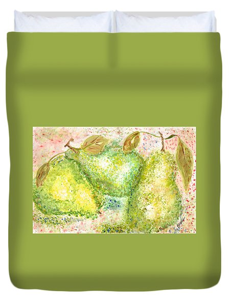Duvet Cover featuring the painting Pear Trio by Paula Ayers