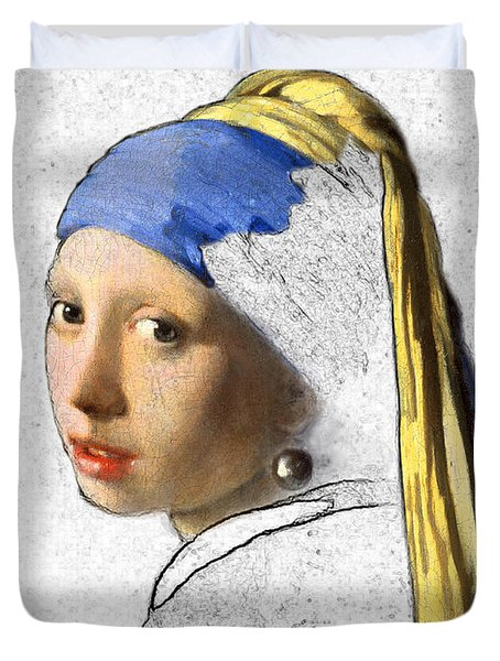 Pearl Earring Digital Art Duvet Cover