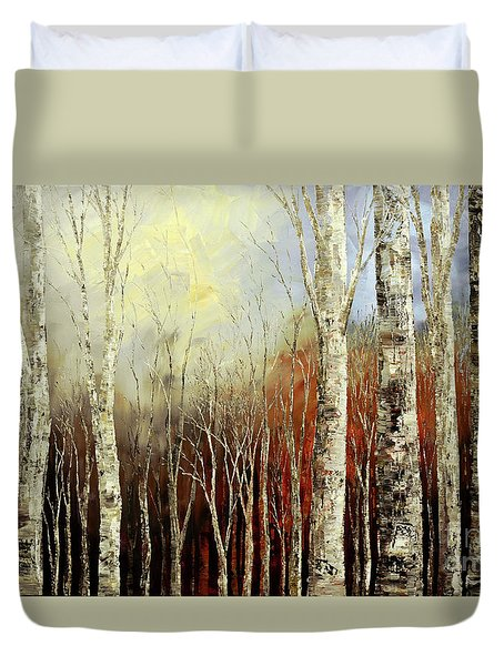Duvet Cover featuring the painting Pearls In The Mist by Tatiana Iliina