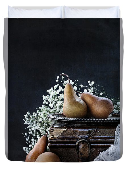 Duvet Cover featuring the photograph Pears And Baby's Breath by Stephanie Frey