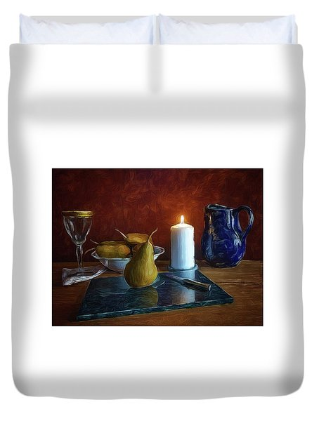Pears By Candlelight Duvet Cover