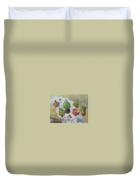 Pears Figs And Young Pomegranates Duvet Cover