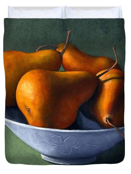 Pears In Blue Bowl Duvet Cover