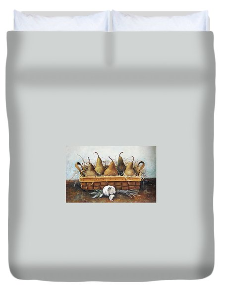 Duvet Cover featuring the painting Pears by Mikhail Zarovny