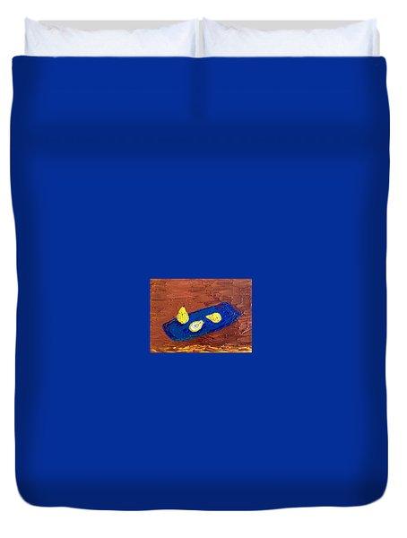 Pears On A Blue Platter Duvet Cover by Brenda Pressnall