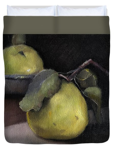 Pears Stilllife Painting Duvet Cover by Michele Carter
