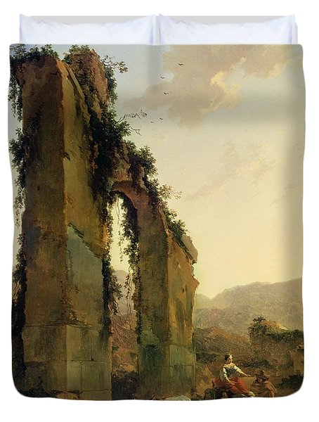 Peasants With Cattle By A Ruined Aqueduct Duvet Cover by Nicolaes Pietersz Berchem