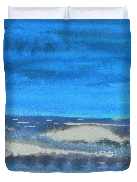 Duvet Cover featuring the painting Peau De Mer by Marc Philippe Joly