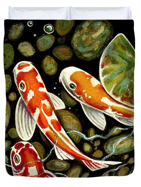 Pebbles And Koi Duvet Cover