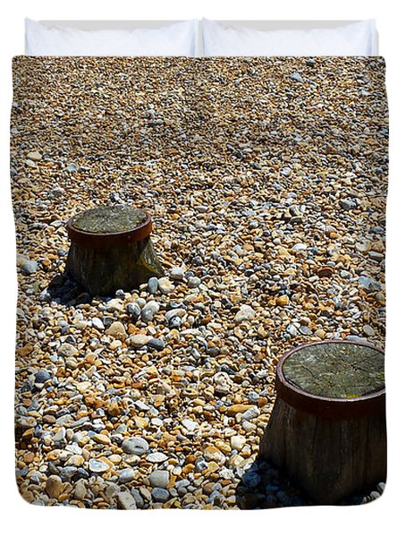 Pebbles And Wood Duvet Cover