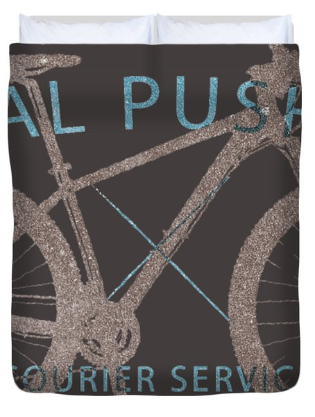 Pedal Pushers Courier Service Bike Tee Duvet Cover