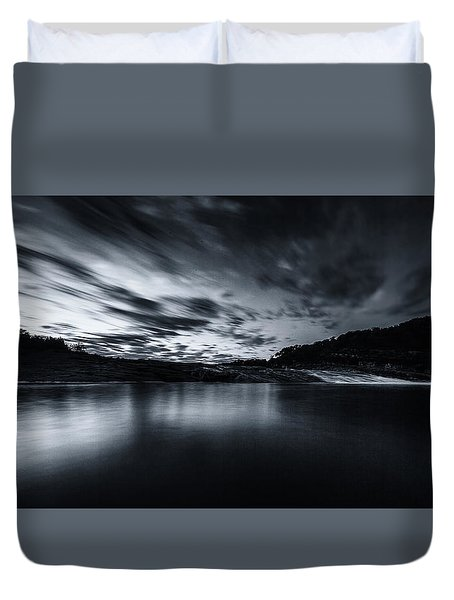 Peddernales Falls Long Exposure Black And White #1 Duvet Cover