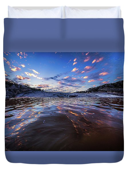 Peddernales Falls Sunset #1 Duvet Cover by Micah Goff