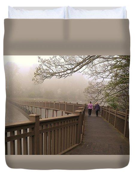 Pedestrian Bridge Early Morning Duvet Cover