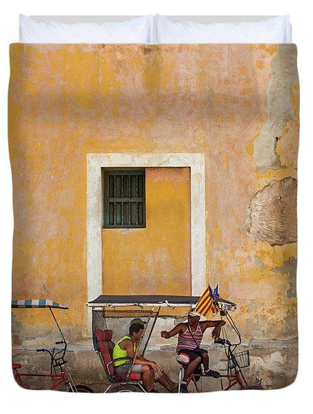 Duvet Cover featuring the photograph Pedicabs At Convento De Santa Clara Havana Cuba by Charles Harden