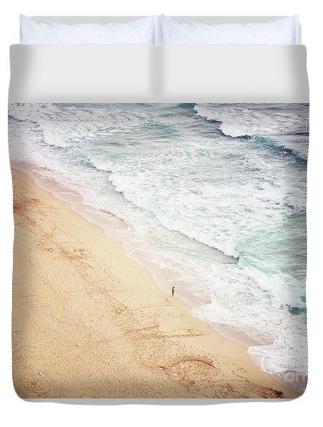 Duvet Cover featuring the photograph Pedn Vounder by Lyn Randle