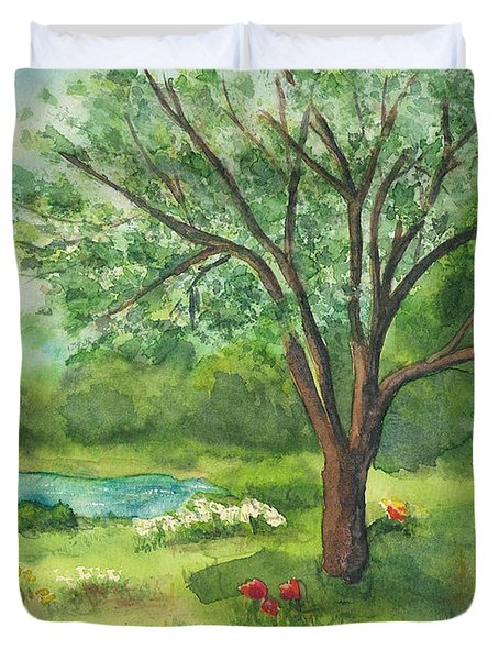 Duvet Cover featuring the painting Pedro's Tree by Vicki  Housel