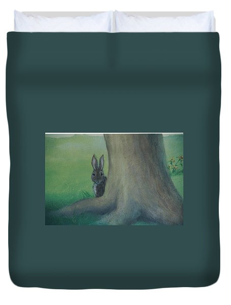 Peek A Boo Behind The Tree Duvet Cover