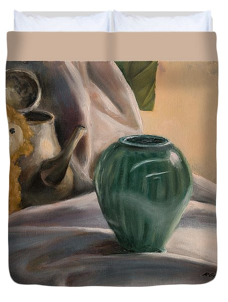 Duvet Cover featuring the painting Peek-a-boo by Break The Silhouette