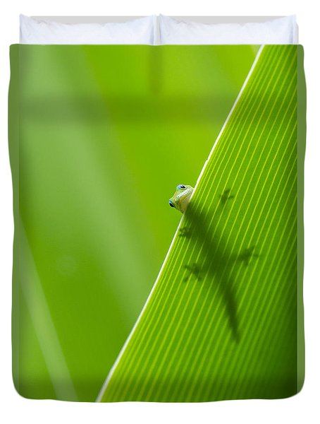 Duvet Cover featuring the photograph Peek A Boo Gecko by Christina Lihani