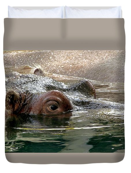Duvet Cover featuring the photograph Peek-a-boo by Jennifer Wheatley Wolf