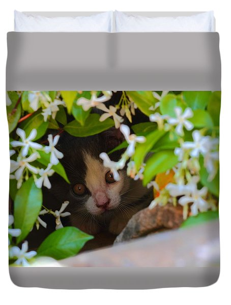 Duvet Cover featuring the photograph Peek-a-boo by Richard Patmore