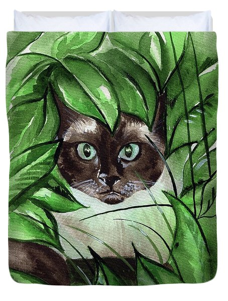 Duvet Cover featuring the painting Peek A Boo Siamese Cat by Dora Hathazi Mendes