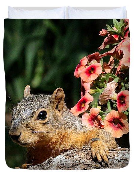 Peek-a-boo Squirrel Duvet Cover