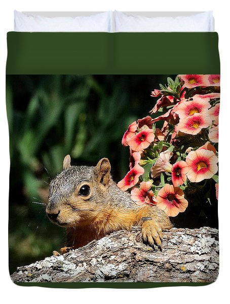 Peek-a-boo Squirrel Duvet Cover