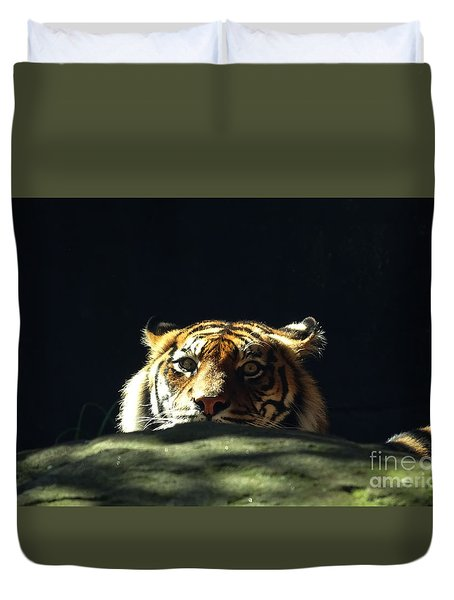 Duvet Cover featuring the photograph Peek-a-boo Tiger by Angela DeFrias