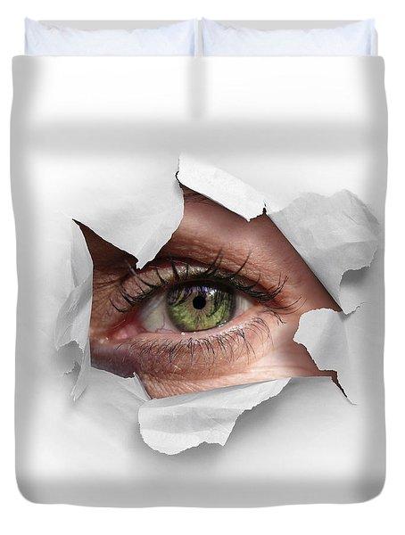 Peek Through A Hole Duvet Cover by Carlos Caetano