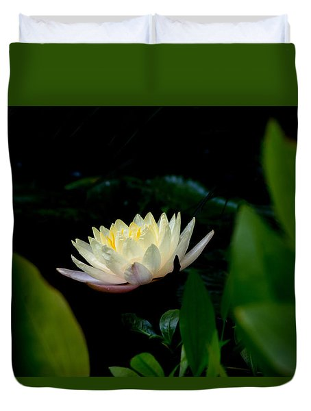 Peekaboo Lemon Water Lily Duvet Cover