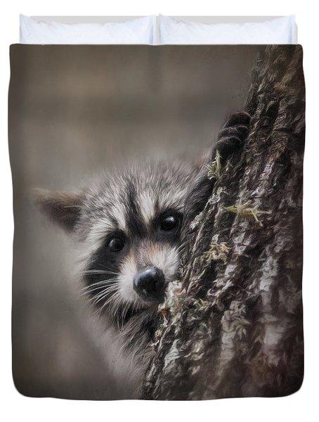 Peekaboo Raccoon Art Duvet Cover by Jai Johnson