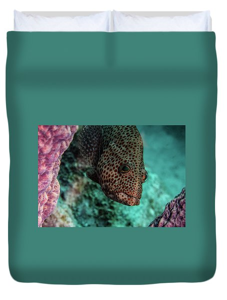 Duvet Cover featuring the photograph Peeking Coney by Jean Noren