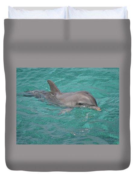 Peeking Dolphin Duvet Cover
