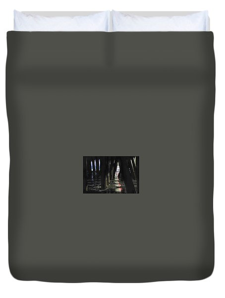 Duvet Cover featuring the photograph Peeking by Lora Lee Chapman