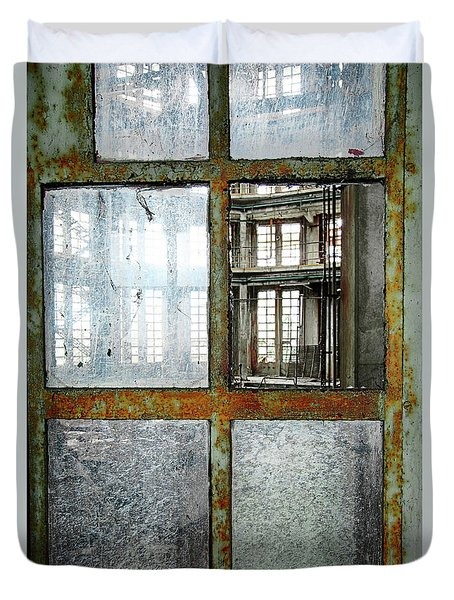 Duvet Cover featuring the photograph Peeping Inside Factory Hall - Urban Decay by Dirk Ercken