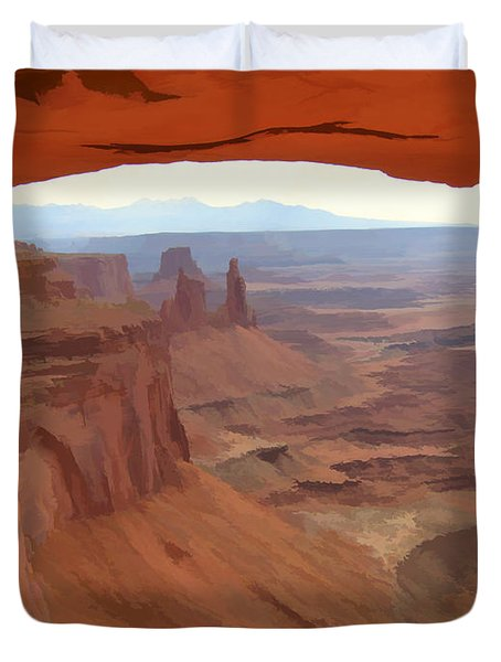 Duvet Cover featuring the digital art Peering Out 2 Watercolor by Gary Baird