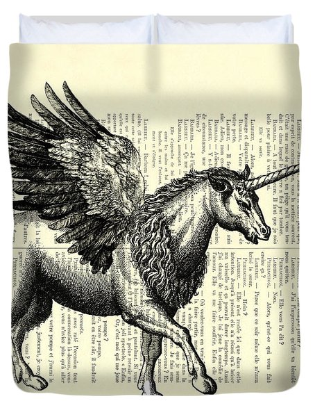 Pegasus Black And White Duvet Cover