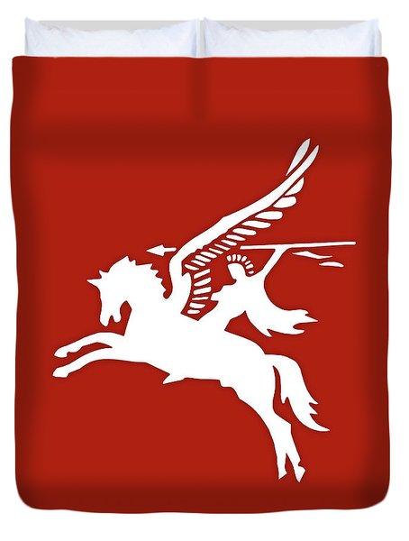 Pegasus In War Duvet Cover by Kristin Elmquist