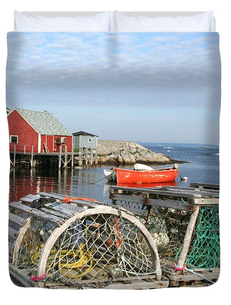 Peggys Cove And Lobster Traps Duvet Cover by Thomas Marchessault