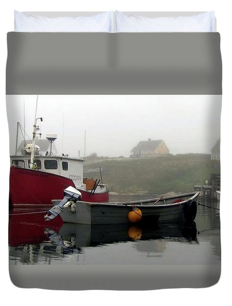 Peggys Cove Fogged In Duvet Cover