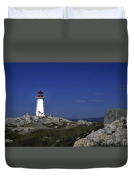 Peggy's Cove Lighthouse Duvet Cover by Sally Weigand