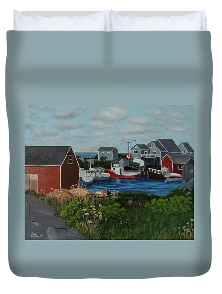 Peggy's Cove Duvet Cover by Lisa MacDonald